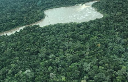 Aerial view of rainforest and river in Brazilian Amazon