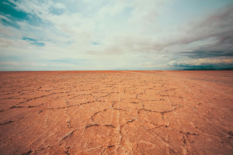 red dry cracked earth